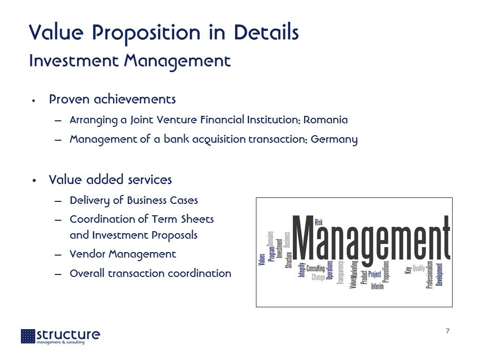 Value Proposition STRUCTURE M&C Structure Management & Consulting
